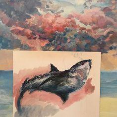 У кого какое любимое животное? . . . . . . #картина #масло #набросок #набросокмаслом #акула #белаяакула #челюсти #небо #art #painting #oil #oilpainting #shark #artshark #paintingsky #skyline #art🎨 #картинамосква #paintingmoscow