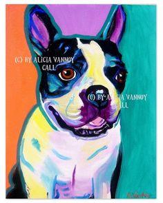 Colorful Pet Portrait Boston Terrier Dog Art Print by dawgpainter, $14.00