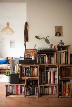 Wooden Wine Crates Instead Of Bookshelf Jennifer And Hansu0027 Bright And  Natural Amsterdam Apartment