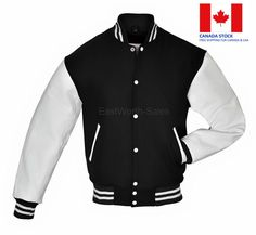 White Regular Size Coats & Jackets for Men for sale Team Jackets, Leather Sleeves, Jacket Style, Black Wool, White Leather, Online Price, Bomber Jacket, Menswear, Store