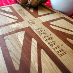 Personalised Wooden Union Jack Chopping Board  by SquarePear Furniture