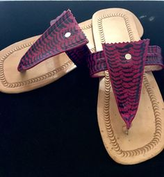 Magenta Leather Sandals  #mens #men #leather #red #beaded #america #shoeaddict #decor #decoration #bags