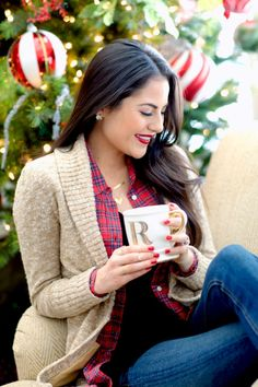 A Cozy Holiday Season. - Pink Peonies by Rach Parcell Holiday Fashion, Autumn Winter Fashion, Winter Style, Winter Wear, Tartan Christmas, Christmas Brunch, Christmas Outfits, Christmas Morning, Christmas Time