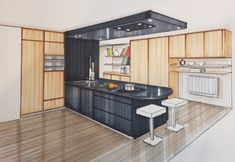 Interior Architecture Drawing, Interior Design Renderings, Architecture Concept Drawings, Drawing Interior, Interior Rendering, Interior Sketch, Architecture Design, Kitchen Layout Plans, Interior Design Presentation