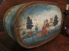 Antique 1700 EARLY Rare FOLK ART Best Colors Wooded Painted German BRIDE'S Box