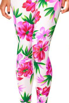 L Sample Pink/White Flower Leggings (Unreleased) - $35