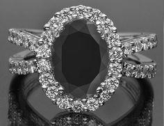3.35ct Oval Black and White Diamond Halo Style Engagement/Wedding Ring