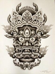 Red Ink Tattoos, Asian Tattoos, Head Tattoos, Tibetan Tattoo, Tibetan Art, Hannya Tattoo, Demon Tattoo, Stippling Tattoo, Full Tattoo