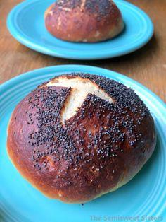 Poppy Seed Pretzel Buns (Hamburger Buns)