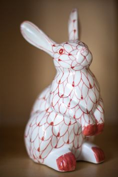 Pink net bunny with paws up figurine large by FeelsGoodToBeHome, $30.00