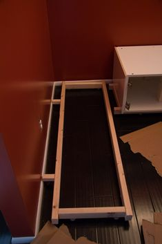 How we built the frame for our banquette kitchen seating we assembled using Ikea kitchen cabinets. Booth Seating In Kitchen, Banquette Seating In Kitchen, Kitchen Booths, Dining Nook, Ikea Kitchen Cabinets, Diy Cabinets, Kitchen Storage, Kitchen Organization, Build A Frame