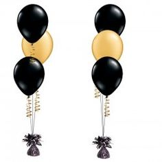 Black Gold Party Black and Gold Latex Balloon Bouquet - Click Image to Close Black And Gold Centerpieces, Black And Gold Party Decorations, Black And Gold Balloons, Black Gold Party, Graduation Party Decor, Birthday Party Decorations, Graduation Centerpiece, Party Favors, 70th Birthday Parties