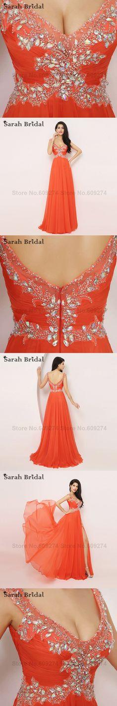 Elegant Orange chiffon Long Prom Dress 2015 Sexy Deep V-Neck backless Formal Evening Gowns Luxury Crystals vestido festa XU002