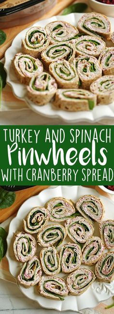 Healthy Turkey Pinwheels with Cranberry Spread | Eat Yourself Skinny