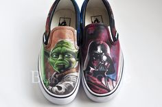 Custom Hand Painted Shoes Star Wars: Yoda and Darth by BitsofRouge Star Wars Shoes, Sneaker Art, Hand Painted Shoes, Custom Shoes, Diy Fashion, Me Too Shoes, Tennis, Darth Vader, Slip On