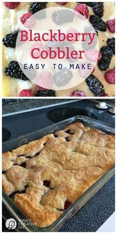 With fresh berries and just a few ingredients, this quick and Easy Blackberry Cobbler Recipe makes a great dessert! Top this fluffy cake-like cobbler with vanilla ice cream and you'll never want anything else! Blackberry Recipes Easy, Fruit Recipes, Recipe For Blackberry Cobbler, Triple Berry Cobbler, Blackberry Crisp, Blackberry Cake, Black Raspberry Cobbler, Black Berry Recipes, Southern Blackberry Cobbler