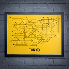 A modern graphic interpretation of the complete Tokyo mass transit system. 18 x 24 Screen Print French Papers Lemon Drop cover with black ink. Made in Brooklyn, NY. Standard size for easy/affordable framing. Frame not included. Tokyo Subway, Tokyo Map, Train Map, Model Sketch, Map Globe, Mellow Yellow, Yellow Black, Branding, Art Moderne