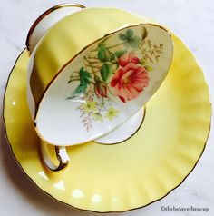 Aynsley Yellow Floral Oban Tea Cup and Saucer