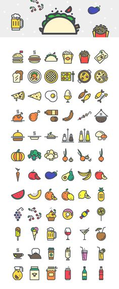 216 Food & Beverages Vector Icons Graphics One of the most impressive collection of food and beverage icons you'll find. Creaticons: Food &amp by Sliceberry Doodle Drawings, Doodle Art, Icon Set, Icon Design, Design Design, Bild Tattoos, Food Icons, Logo Food, Food Illustrations