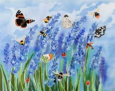 Fine art print of batik painting of a lavender meadow. Field with weaving bees, butterflies and other insects. Botanical Art, Ladybug, Giclee Print, Fine Art Prints, Flora, Lavender, Weaving, Abundance, Bees