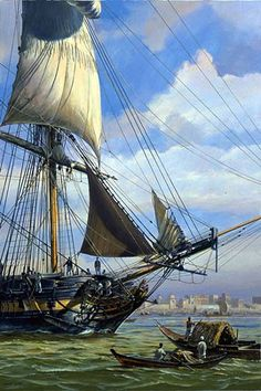 "HMS Surprise off Calcutta - Geoff Hunt. This was used for the cover of ""HMS Surprise"", Patrick O'Brian's third novel in the Aubrey / Maturin canon."