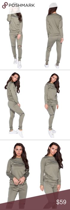 Kara - Zippered Sweatsuit Set Color: Olive Sweatsuit Set Long Sleeved Sweatshirt Jogger Sweatpants Functional Zipper Details Has Stretch Runs True To Size Materials: 95% Polyester / 5% Elastane The Modern Minx NYC Pants Track Pants & Joggers