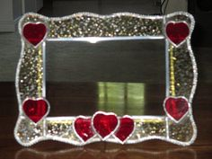 Stained Glass Heart Picture Frame - Amber Granite Glass with Red Hearts