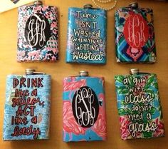 Lilly pulitzer painted monogrammed flasks. If had three days free to paint these.....Yes.