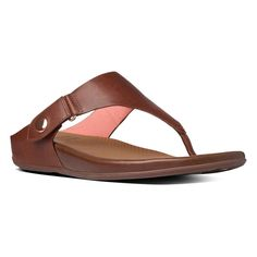 Fitflop 674-277 Women'S Dark Tan Gladdie Toe Post Thong Sandals - With Box