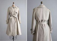 1970s vintage beige wool trench coat