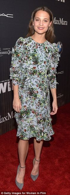 Alicia Vikander - who is competing with J-Law in the same category - showed off her slim f...