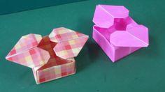 """折り紙「ハートつきの箱」折り方""""Heart Box""""Origami"""