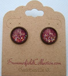 "Antiqued Bronze-Tone Glitter Glass Galaxy Stud Earrings 1/2"" Round Plum Berry Purple"