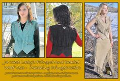 Lady's Fringed Western Native Style Beaded Wolf Vest -Turquoise  - Special Combo Offer! Deduct 20% Off Any J4 West -Combo Order For Matching Wolf Vest And Fringed Skirt  Review off of:  http://www.indianvillagemall.com/smladyvests.html