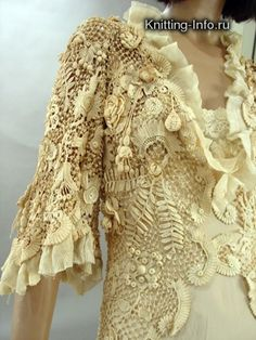 Stunning Irish crochet lace jacket/robe. See sleeves!!