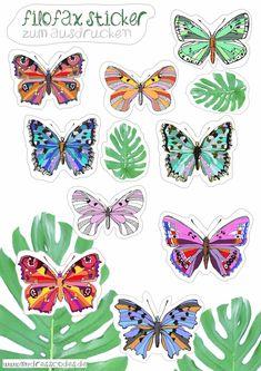 butterflies Sticker: Planner, Filofax, Terminkalender zum Ausdrucken - Freebie / free printable