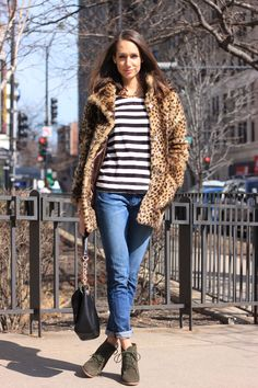 leopard coat, striped tee, boyfriend jeans, wedge booties, blair culwell, fox and she