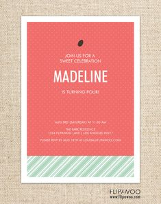 Watermelon Picnic Birthday Invitation Design by FLIPAWOO  - Customized Printable File