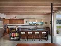 #StainlessSteel #Concrete #BreakfastBar #Oven #Bookcase #PendantLight #Refrigerator #Island #Kitchen