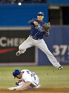 Just an Amazing play! Tampa Bay Rays shortstop Yunel Escobar turns a double play over Toronto Blue Jays' Adam Lind during the eighth inning - 05/21/2013. GO YUNEL!