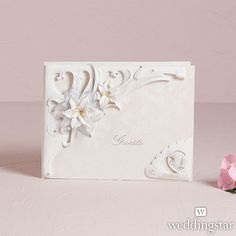Sculptural White Tiger Lilies Traditional Guest Book - Weddingstar
