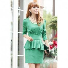 Work Round Neck Pleated Ruffles Bow Long Puff Sleeves Knitting Women's Dress, GREEN, ONE SIZE in Dresses 2013 | DressLily.com
