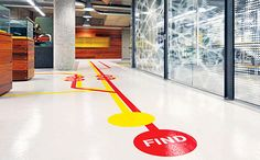 [Inspiration] Get creative!  Custom floor graphics act as a more unique form of wayfinding signage.  capital-imaging.com