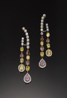 Fancy Colour Diamond Earrings