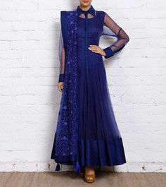 Blue Net Anarkali Suit