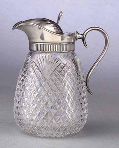 English Silver-Mounted Diamond-Cut Glass Syrup Pitcher, c. 1840
