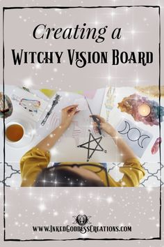 A witchy vision board can take your visionary magick practice to the next level! Magick Spells, Witchcraft, Wiccan Witch, Bullet Journal Vision Board, Digital Vision Board, Creating A Vision Board, Affirmation Cards, Images And Words, Yoga Studios