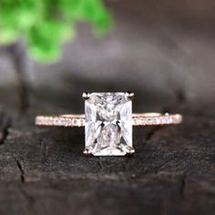 Forever One Moissanite Ring Radiant Cut Solitaire Engagement Ring Diamond Wedding Band Unique Setting Rose Gold Christmas Gift by FOneUS on Etsy Opal Wedding Ring Set, Unique Wedding Bands, Diamond Wedding Bands, Rose Gold Promise Ring, Forever One Moissanite, Solitaire Engagement, Beautiful Rings, Radiant Cut, Gold Christmas