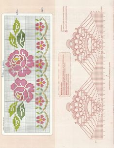 This Pin was discovered by Zey Cross Stitch Rose, Cross Stitch Borders, Cross Stitch Flowers, Cross Stitch Designs, Cross Stitching, Cross Stitch Embroidery, Cross Stitch Patterns, Crochet Lace Edging, Crochet Borders