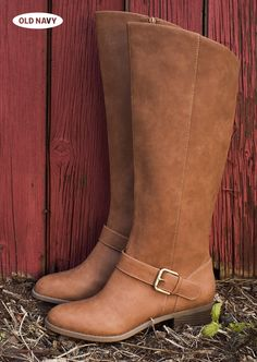 We've fallen in l-o-v-e with these caramel-hued, knee-high buckle boots.
